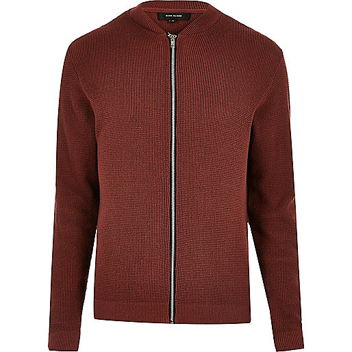 Dark orange textured knit bomber jacket