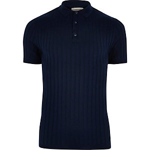 Dark blue ribbed polo shirt