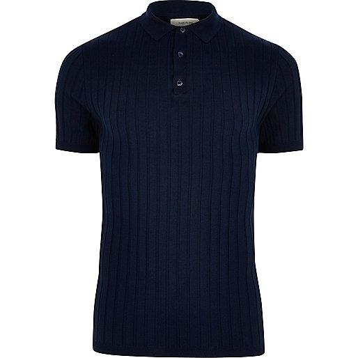 Dark blue ribbed polo shirt