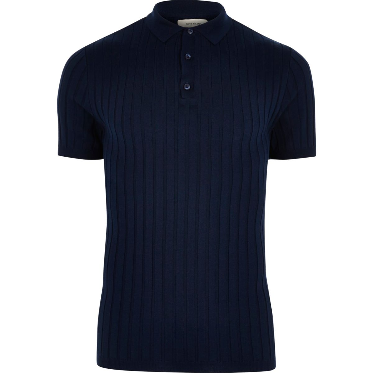 Dark blue ribbed muscle fit polo shirt