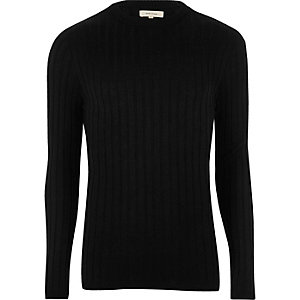 Black chunky ribbed muscle fit jumper