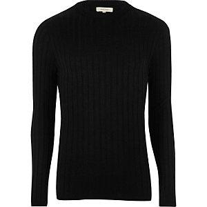 Zwarte geribbelde skinny-fit pullover