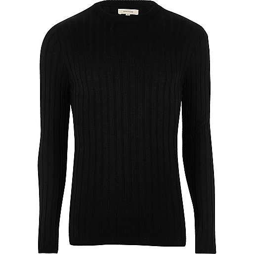 Black chunky ribbed muscle fit sweater