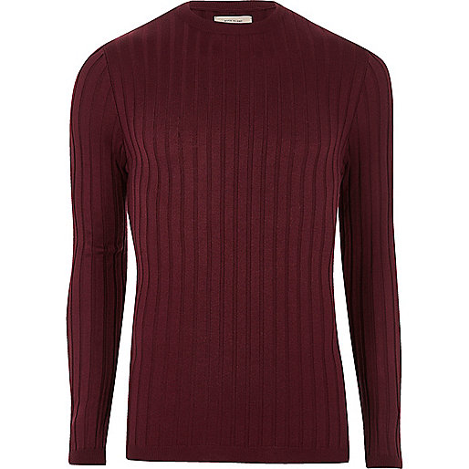Dark purple chunky ribbed muscle fit sweater
