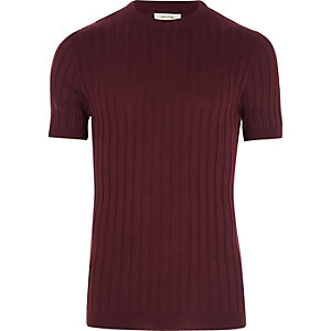 Dark purple chunky ribbed muscle fit T-shirt
