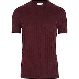 Donkerpaars grof geribbeld aansluitend T-shirt