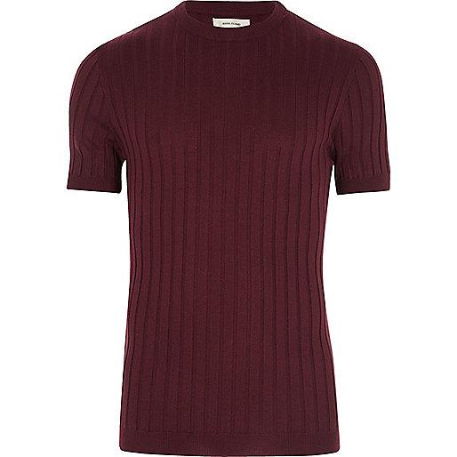 Dark purple chunky ribbed T-shirt