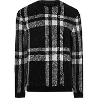 Black check slim fit sweater