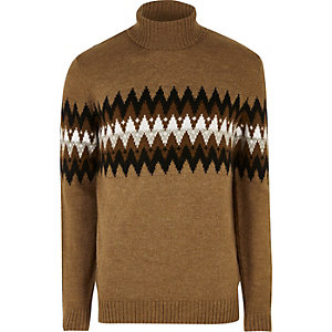 Camel Aztec roll neck sweater