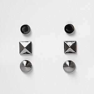 Set metaalgrijze oorbellen
