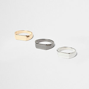 Gold and silver tone rings pack