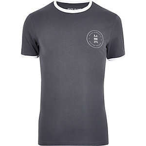 Grey muscle fit ringer T-shirt
