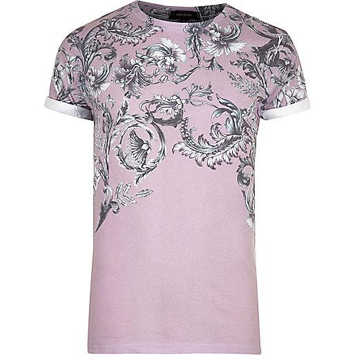 T-shirt imprimé floral délavé rose