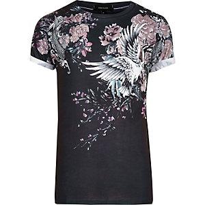 T-shirt à fleurs orientales noir