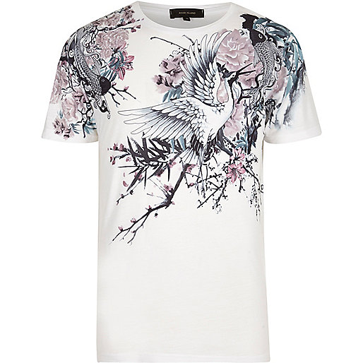 White Oriental floral print t-shirt
