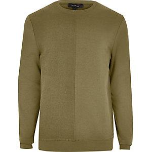 Khaki green seam sweatshirt