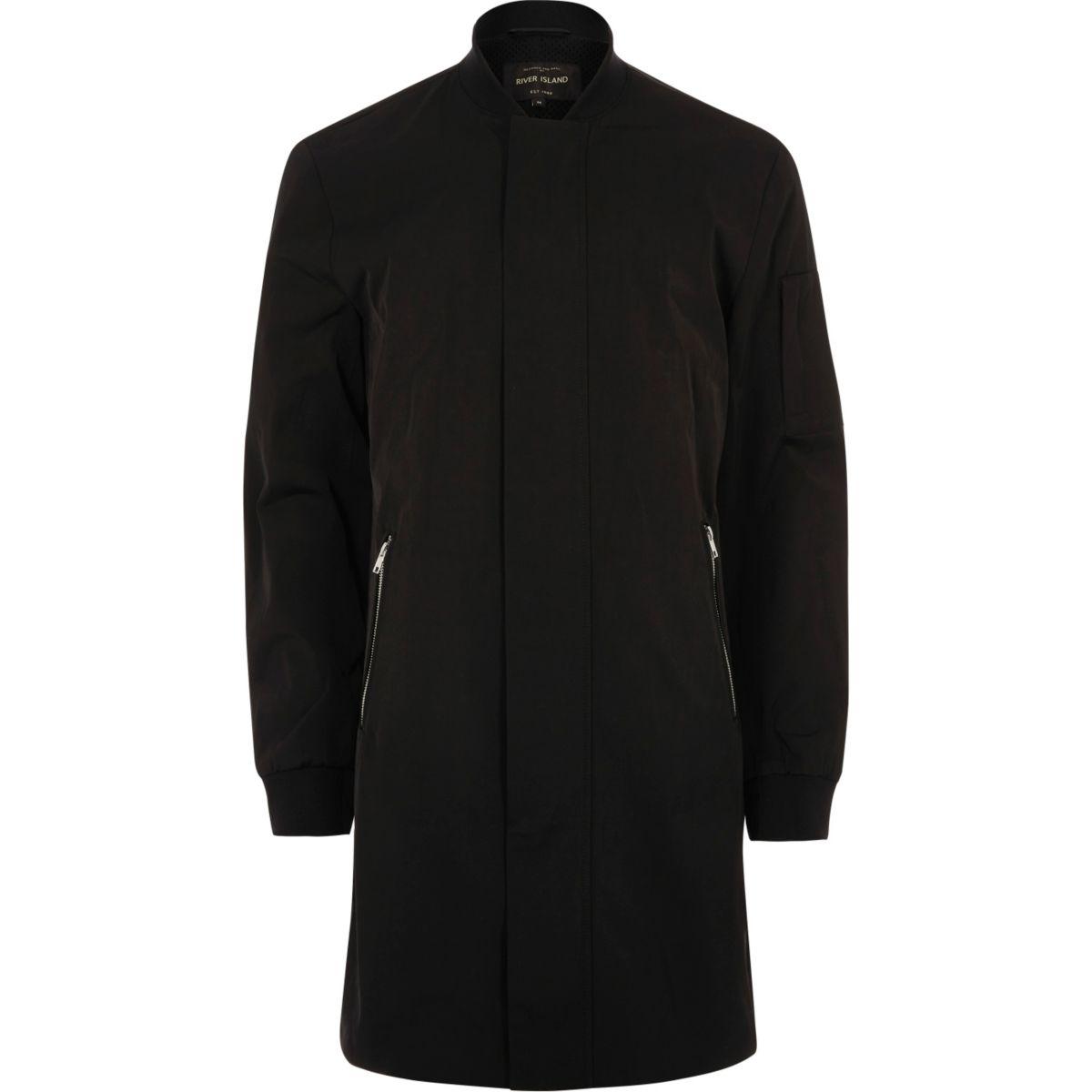 Black longline zip up jacket