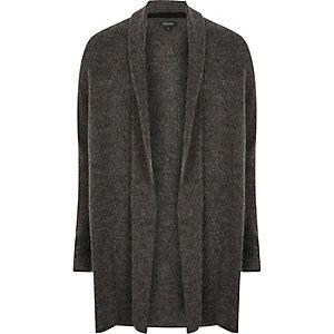 Cardigan côtelé en laine gris foncé