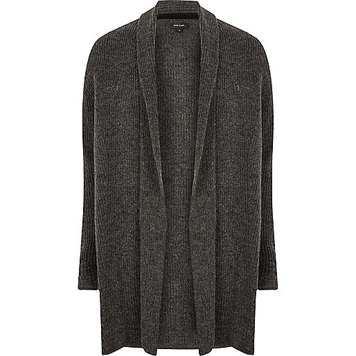 Dark grey ribbed wool cardigan