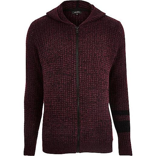 Burgundy ribbed stripe zip up hoodie