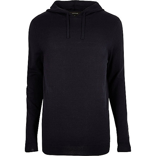 Navy blue slim fit casual hoodie