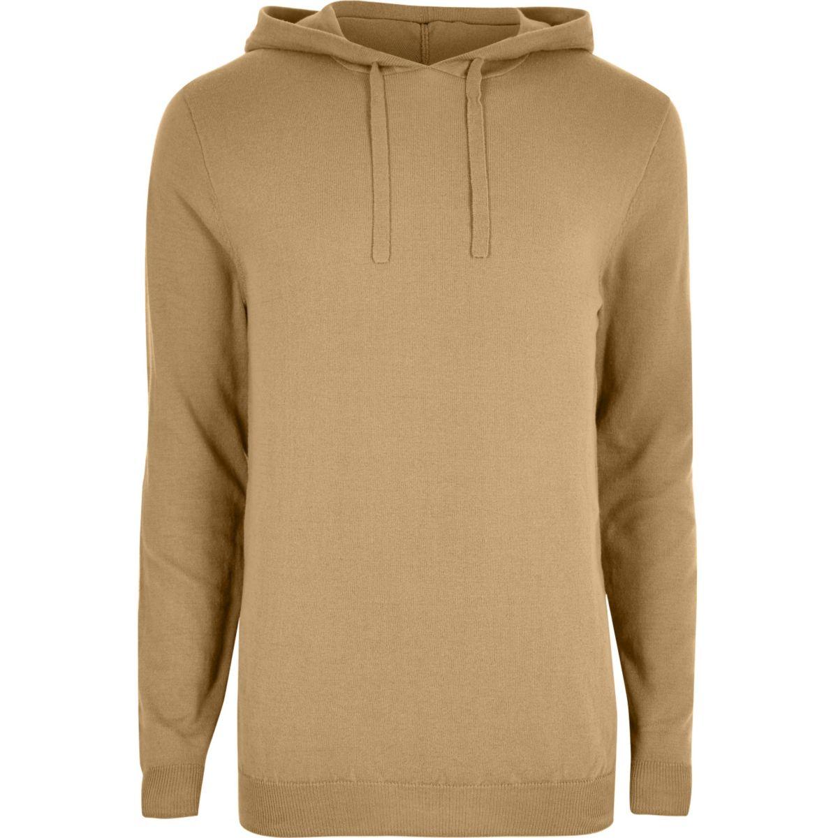 Brown slim fit basic casual hoodie