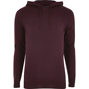 Burgundy slim fit basic casual hoodie