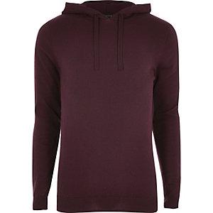 Burgundy slim fit basic casual hoodie