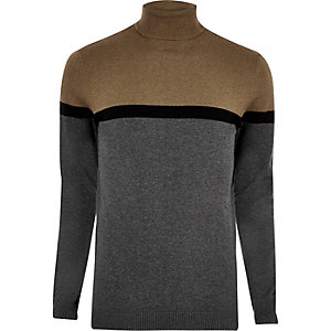 Grey colour block roll neck jumper