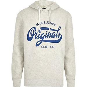 White marl Jack & Jones print hoodie