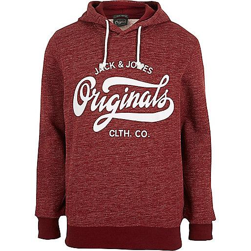 Dark red Jack & Jones print hoodie