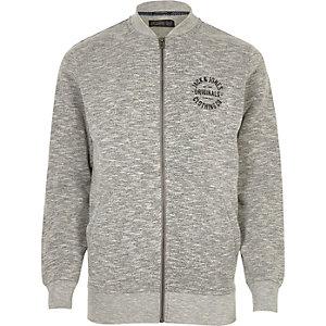 Grey marl Jack & Jones zip up bomber jacket