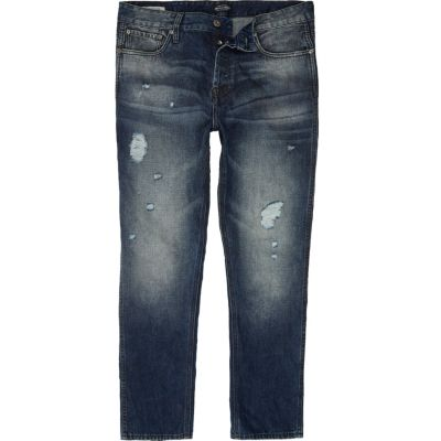 Jack and Jones Slim-fit jeans met blauwe wassing