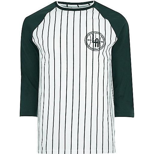 White pinstripe raglan long sleeve T-shirt