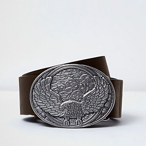 Dark brown eagle plate belt