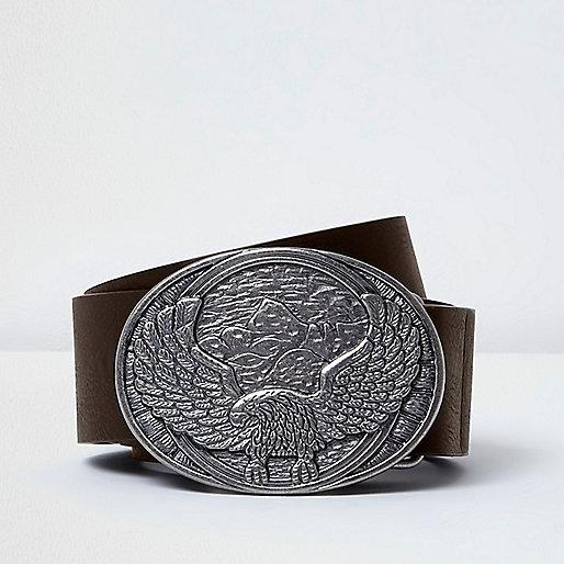 Dark brown eagle plate belt