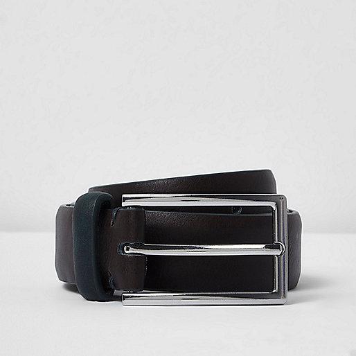 Chocolate brown belt with khaki keeper