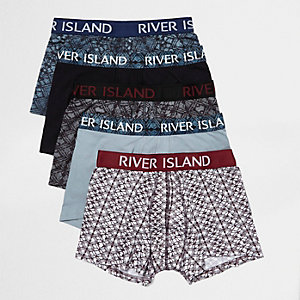 Blue print hipster boxers pack