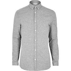 Gemêleerd grijs aansluitend overhemd