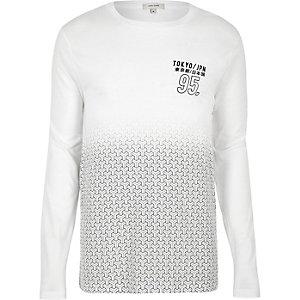 White geo fade long sleeve T-shirt