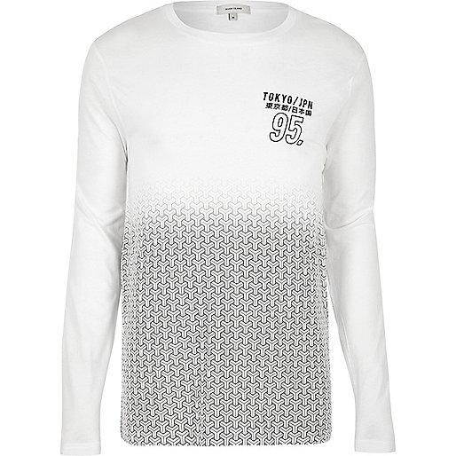 T-shirt à imprimé géométrique blanc délavé et à manches longues