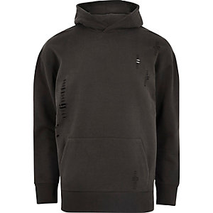 Donkergrijze ripped hoodie