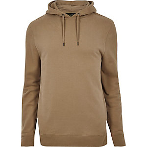Sweat à capuche doux marron clair