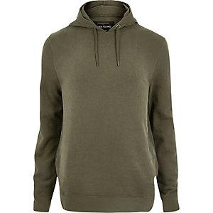 Donkergroene zachte hoodie