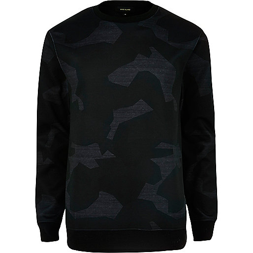 Graues Scuba-Sweatshirt mit Camouflage-Muster