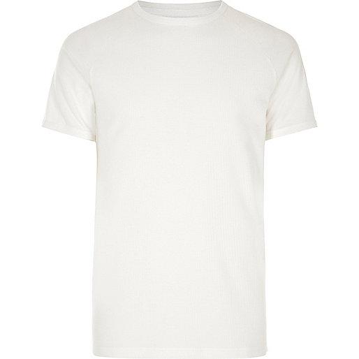 White waffle raglan T-shirt