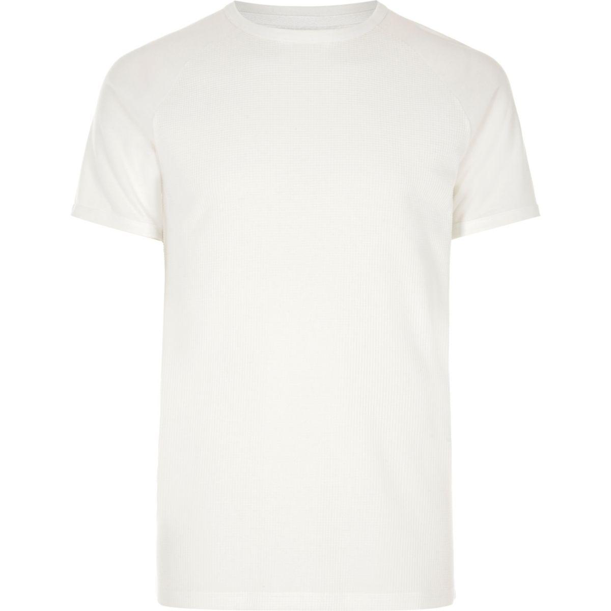 White waffle short sleeve raglan T-shirt