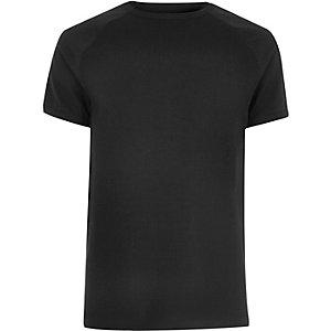 Zwart T-shirt met wafeldessin en raglanmouwen