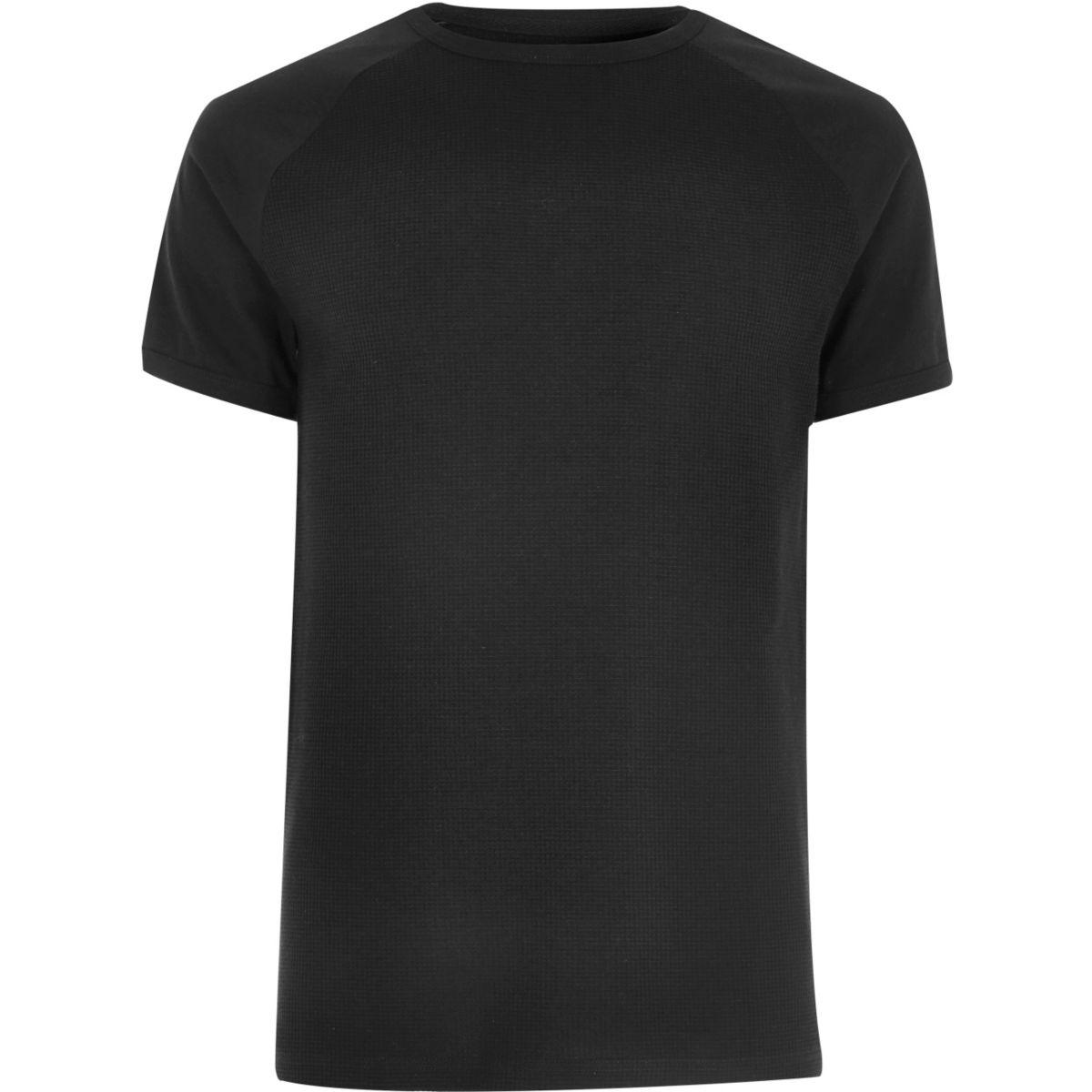 T-shirt noir gaufré à manches raglan