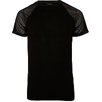 Black mesh raglan sleeve T-shirt